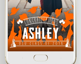 Snapchat Graduation Filter, Personalized Custom Name, School Color & School Name, Geofilter Lens, College and University, Class of 2018