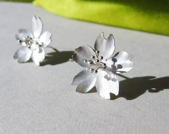 Season-Cherry Blossom-Sakura-Silver Earrings- single petals/ handmade,stud earrings