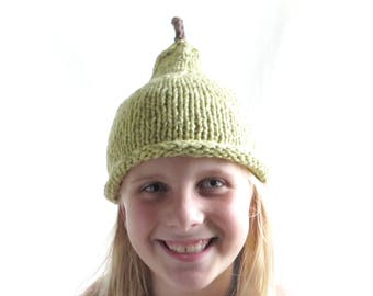 Ripe Pear Hat - Child Size - Organic Cotton Hand Knit - Ready to ship