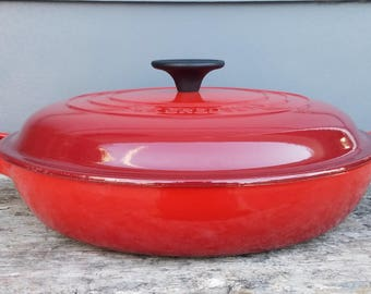 """Vintage Le Creuset Braiser/Casserole #26 Cerise Cherry Red, 2.25 Quarts, 10.5"""", Enameled Cast Iron,  New Old Stock, Made in France"""