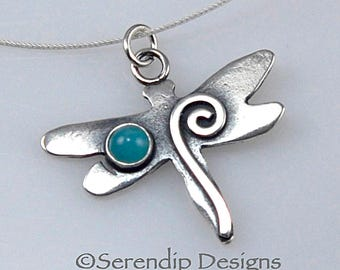 Sterling Silver Dragonfly Necklace with Amazonite Cabochon, Shiny Silver Spiral Dragonfly Pendant, Amazonite Gemstone Dragonfly