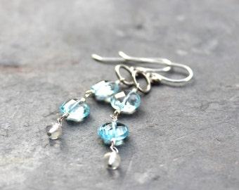 Blue Topaz Earrings Coin Gemstone Dangle Earrings Sterling Silver November Birthstone