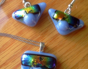 Blue-Violet fused glass pendant and earring set