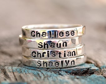 Silver Stacking Name Ring Set.  4 Rings.  Argentium Silver .935 Personalized with Your Choice of Names or Words