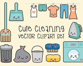 Premium Vector Clipart - Kawaii Cleaning Clipart - Kawaii Clip Art Set - High Quality Vectors - Instant Download - Kawaii Clipart