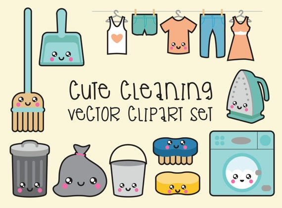 premium vector clipart kawaii cleaning clipart kawaii clip art rh etsystudio com clip art cleaning supplies clipart cleaning lady