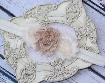 Ivory and Champagne Headband Pearl Rhinestone - Photo Prop - Newborn Infant Baby Toddler Girls Adult Wedding