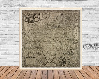 Ancient map of the Americas, 1562, very old map of North and South America, vintage decor,fine art print