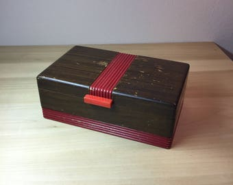 Vintage Wood Box with Red Accents