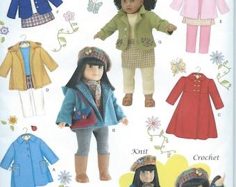"UNCUT Simplicity 3551 Craft Doll Pattern Fits 18"" Doll Dress American Girl Style Jacket, Coat, Pants, Shirt"