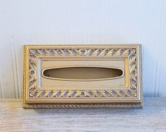 Vintage Tissue Holder, Gold Ornate Kleenex box for Art Nouveau or Hollywood Regency Bathroom by Syroco