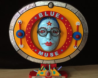 Blue Muse - Recycled Mixed Media Assemblage