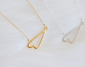 Heart Necklace, Sideways Heart Necklace, Silver or Gold