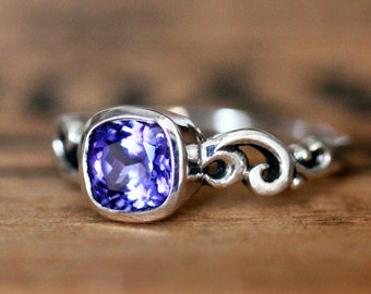 Tanzanite engagement ring, ocean engagement ring swirl engagement ring, purple engagement ring natural tanzanite filigree ring, custom water