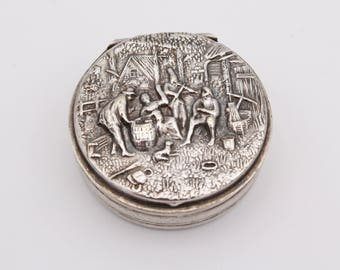 Silver Plated Repousse Pill Box