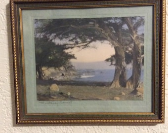 Hand colored photo of the Monterey Coast, titled, matted and framed under glass, California photography