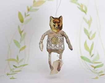 Nostalgic Spun Cotton Christmas Ornament Fox woodland Filasophie
