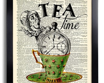 Tea Time Alice in Wonderland Quotes, Alice in Wonderland Wall Art, The Mad Hatter Art Print, Book Page Print, Alice Poster, Wall decor 454