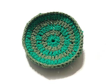 Mod Green And Sage Green Striped Crocheted Cotton And Nylon Netting Dish Scrubbie- Large