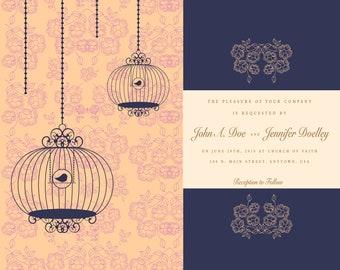 Wedding Invitation - Birdcages- Peach