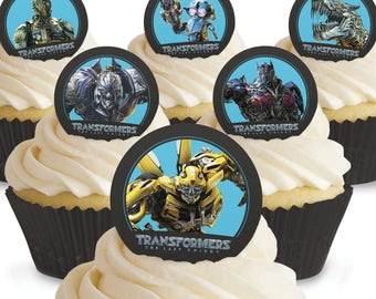 Toppershack 12 x PRE-CUT Transformers Edible Cake Toppers
