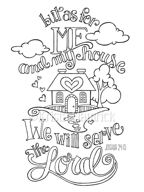 As For Me And My House Coloring Page In Two Sizes 8 5x11