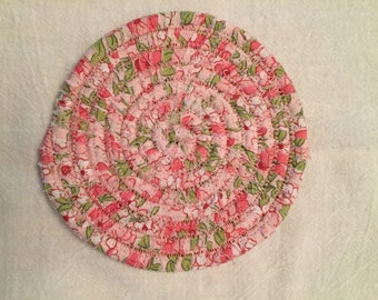 Pink cotton coasters