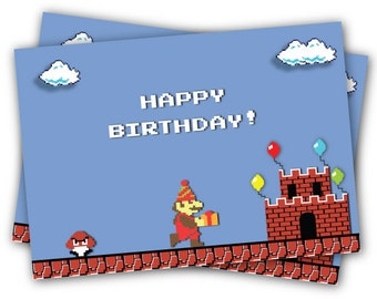 Classic Super Mario Bros Birthday Card Original pixel + Inc. an envelope in a color of your liking.