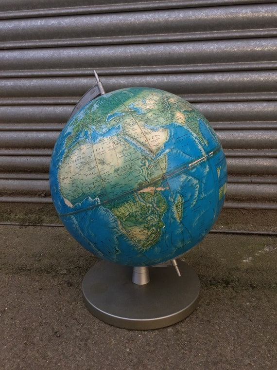 Vintage 1960's American Rand McNally World Portrait Globe 3D Raised Topograph