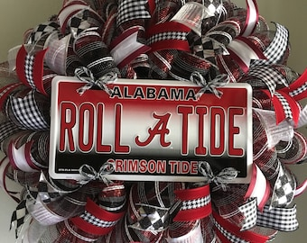 Alabama Crimson Tide Roll Tide Football Sports College Collegiate Welcome Door Mesh Wreath