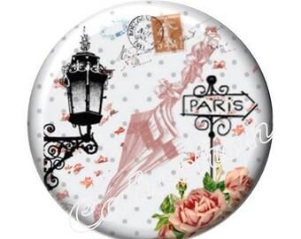 2 cabochons 16mm glass, Dame de Paris, vintage, umbrella