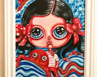 Free with the Sea original acrylic painting framed fantasy big eye wall art octopus ocean water