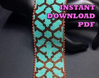PATTERN - Single Peyote - Medieval Symmetry Bracelet