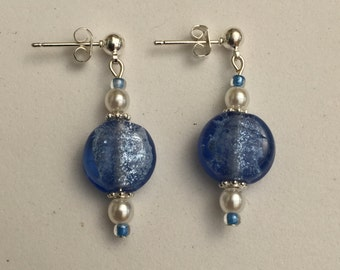 Hand Crafted Blue, Pearl and Silver Beaded Earrings