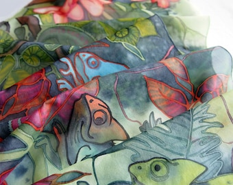 Chameleon scarf - hand painted silk scarves - exotic scarf - rain forest art - animal and leafs - lizard scarf - geek gift - silk painting