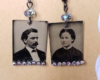 Tintype Photo  Earrings No. 9