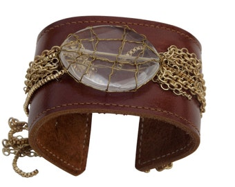 Brown Leather & Quartz cuff