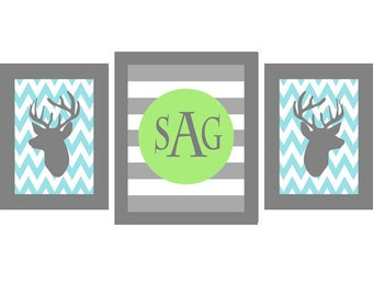 Deer Nursery Art Chevron - Monogram Print Set - Aqua Green Gray -  Boy Room Hunting Personalize - Wall Art Home Decor Set -