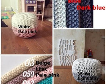 Mix and match, Two colors white/light gray pouf, Floor Pouf-Nursery Pouf Ottoman-Nursery Decor-Tee Pee Cushions-Baby Shower Gift