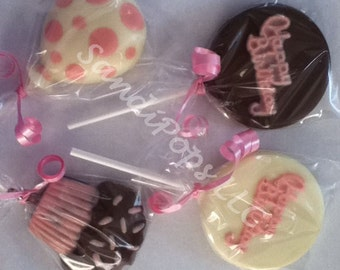 24 Hand-painted Custom Made Chocolate Birthday Lollipops