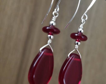 Silver Plated, Ruby Glass Bead Earrings