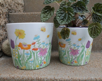 Vintage Flower Power Porcelain Planter, Wedding Centerpiece, Pencil Holder, Set of 2, Spring Time Flower Pots