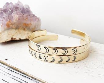 Luna hand stamped crescent cuff bracelet