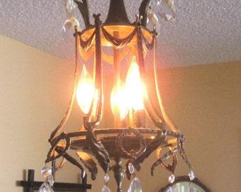 Vintage Chandelier Lighting, Petite Chandelier, Made in Spain, Ornate Gilt Brass, Swag 4 Lamps, 12 Glass Prisms, Crystal Pendant Light