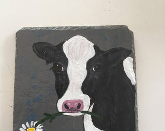 Cow (Holstein) hand painted Slate Coasters