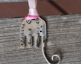 GRANDMA Elephant Ornament Pink Ribbon with Hearts hand made from FORK vintage silver plate small ornament cute Stocking Stuffer