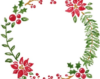 Christmas Watercolor Wreath Clip Art