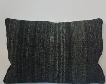 Gray Kilim Pillow, Black Kilim Pillow, Turkish Pillow, Moroccan Pillow, Decorative Pillow