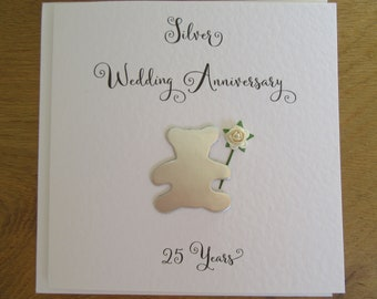 25th Wedding Anniversary card - Silver Wedding - husband - wife- Mum and Dad - Friend -Family