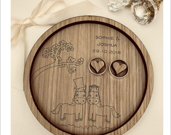 Wedding Ring Bearer Tray: Personalised Engraved Farmer, Cute Wedding Horses. Dish, Box, Gift, Farm, Vintage, Rustic, Weddings, Anniversary.